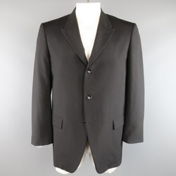 COMME des GARCONS 42 Black Wool Gold Interior Boxy Sport Coat