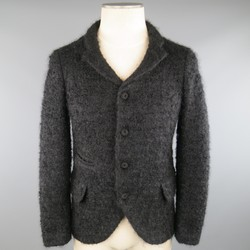 COMME des GARCONS HOMME PLUS XS Black Fuzzy Textured Mohair / Wool Jacket