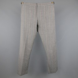COMME des GARCONS Size 32 Grey Multicolor Stripe Wool Dress Pants