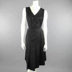 COMME des GARCONS Size L Black Wool Box Pleated Skirt Dress