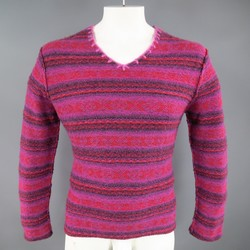 COMME des GARCONS Size L Pink & Red Fairisle Wool Woven V Neck Sweater