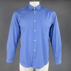 COMME des GARCONS Size M Blue Cotton Collared Patch Pocket Long Sleeve Shirt