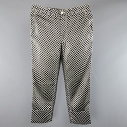 COMME des GARCONS Size S Black & White Chain Print Cuffed Pants