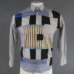 COMME des GARCONS Size S Gray Printed Patchwork Cotton Long Sleeve Shirt