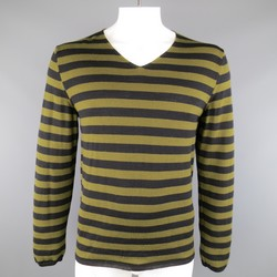 COMME des GARCONS Size XL Olive & Black Striped Wool V Neck Pullover