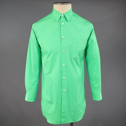 COMME des GARCONS Size XS Green Cotton Collared Extended Long Sleeve Shirt