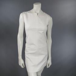COURREGES Size 6 White Sleeveless A line Pocket Shift Dress