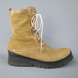 CoSTUME NATIONAL Size 9 Tan Suede Thick Black Sole Boots