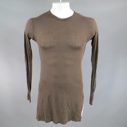 DAMIR DOMA Size XS Brown Cotton / Cashmere Long Sleeve Asymmetrical Slit Shirt