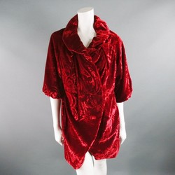 DAVID SZETO Size 4 Red Viscose Blend Ruched Bubble Hem Coat