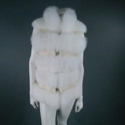 DENISS BASSO Size M Beaded White Fox Fur Vest