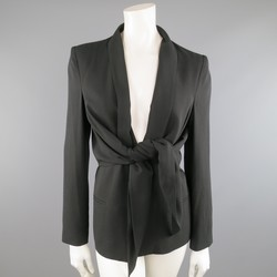 DEREK LAM Size 8 Black Tied Drape Front Shawl Collar Layer Jacket