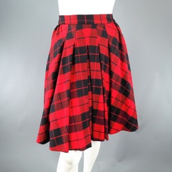 D&G Size 2 Red & Black Plaid Lana Wool Pleated Crinoline Skirt