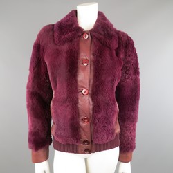 D&G by DOLCE & GABBANA Size 6 Magenta Purple Leather & Rabbit Fur Bomber Jacket