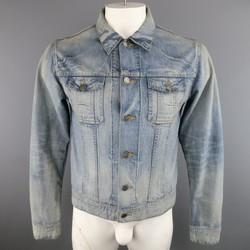 DIOR HOMME 42 Blue Acid Washed Shrunken Denim Trucker Jacket