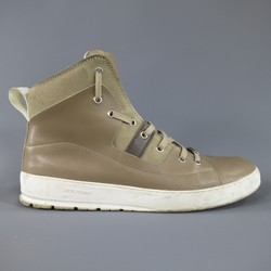 DIOR HOMME Size 11 Taupe Beige Leather White Sole High Top Sneakers