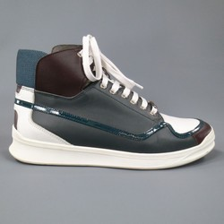 DIOR HOMME Size 7 Gray White Burgundy & Teal  Leather High Top Sneakers