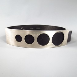 DIRK BIKKEMBERGS Black Leather Silver Circle Cut Out Plate Belt