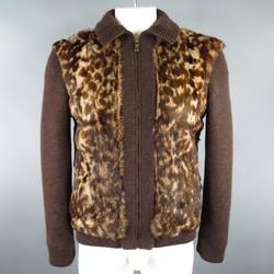 DOLCE & GABBANA 38 Brown Wool Knit Leopard Rabbit Fur Jacket