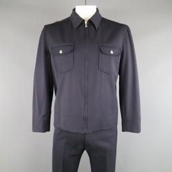 DOLCE & GABBANA 38 Navy Wool Blend Workwear Inspired Suit