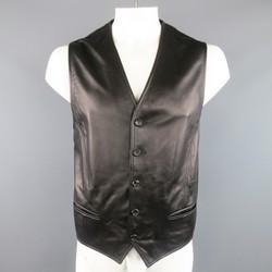 DOLCE & GABBANA 46 Black Sheep Leather V Neck Vest