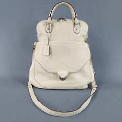 DOLCE & GABBANA Cream Textured Leather Miss Catch Fold Over Handbag