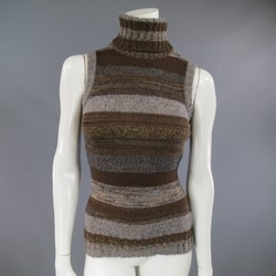 DOLCE & GABBANA S Metallic Brown & Gray Striped Wool Blend Sleveless Turtleneck