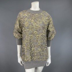 DOLCE & GABBANA Size 2 Grey Gold Metallic Floral Jacquard Sweater Dress