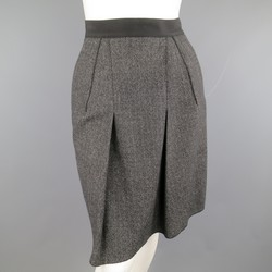 DOLCE & GABBANA Size 4 Heather Gray Pleated Front A Line Skirt