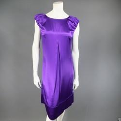 DOLCE & GABBANA Size 4 Purple Silk Satin A Line Short Puff Sleeve Cocktail Dress