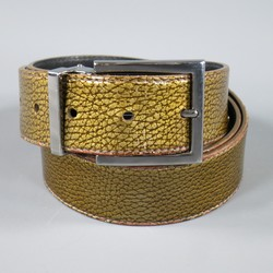 DOLCE & GABBANA Size 40 Gold Iridescent Leather Belt