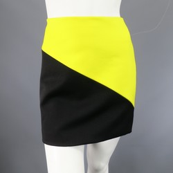DOLCE & GABBANA Size 6 Black & Yellow Color Block Wool Cashmere Blend Mini Skirt