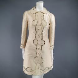 DOLCE & GABBANA Size 6 Blush Silk Satin Floral Lace Coat Dress