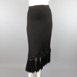 DOLCE & GABBANA Size 8 Black Textured Wool Fringe A Line Skirt