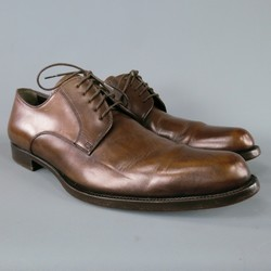 DOLCE & GABBANA Size 8.5 Brown Solid Leather Lace Up