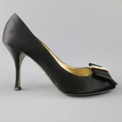 DOLCE & GABBANA Size 9 Black Silk Peep Toe Crystal Bow Pumps
