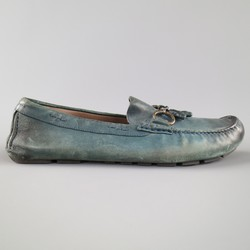 DOLCE & GABBANA Size 9.5 Distressed Teal Horsebit Tassell Driver Loafers