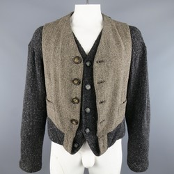 DOLCE & GABBANA Size L Charcoal & Taupe Vest Layered Cardigan