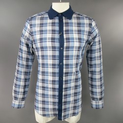 DOLCE & GABBANA Size M Cotton Blue Plaid Long Sleeve Shirt