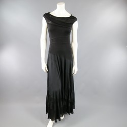 DONNA KARAN Size 10 Black Asymmetrical Striped Patch Work Maxi Dress