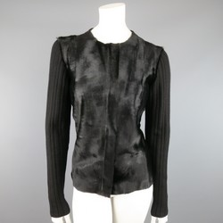 DONNA KARAN Size M Black Ribbed Wool Calf Hair Leather Front Jacket