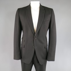DRIES VAN NOTEN 44 Regular Black Wool 36 34 2 Button Notch Lapel Suit