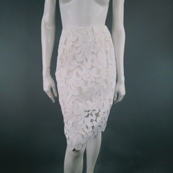 DRIES VAN NOTEN Size 10 White Crochet Lace Pancil Skirt