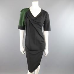 DRIES VAN NOTEN Size 2 Asymmetrical Black Draped Green Military Sleeve Dress