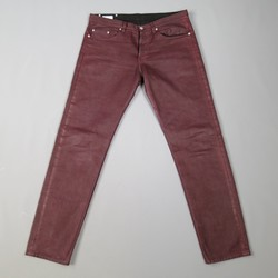 DRIES VAN NOTEN Size 32 Burgundy Coated Skinny Jeans