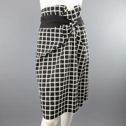 DRIES VAN NOTEN Size 6 Black & White Windowpane Asymmetrical Drap Pencil Skirt