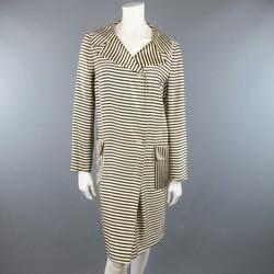 DRIES VAN NOTEN Size L Cream & Black Striped Satin Placket Coat