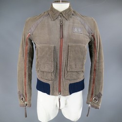 DSQUARED2 38 Distressed Taupe Corduroy Cropped Zip Bomber Jacket