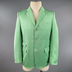 DSQUARED2 40 Regular Light Green Cotton / Silk Faille Sport Coat