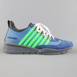 DSQUARED2 Size 13 Blue & Green Striped Nubuck Sneakers